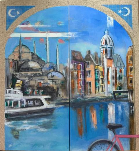 Sara Özsarfati; 'Cultural Ties between Turkey & Netherlands'; Mixed media on oil painting; 120x110cm