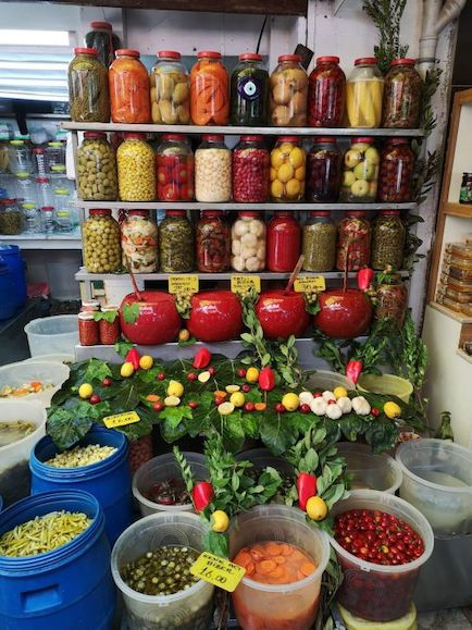 Pickles on display in the market, Izmir. Credit: Ronit Vered