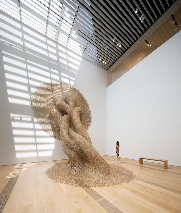 View of Tanabe Chikuunsai IV, bamboo installation, at OMM. Photo by Kengo Kuma and Associates. ©NAARO. Courtesy of the Odunpazari Modern Museum (OMM).