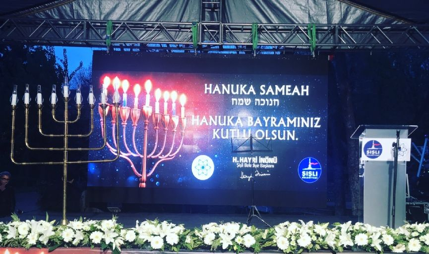 Hanukkah candles lit in Nisantasi