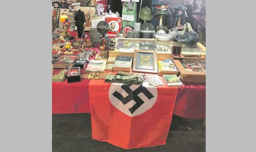 Nazi Flag and Photo of Hitler at a Flea Market
