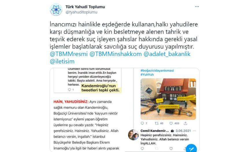 Turkish Jewish Community´s Criminal Complaint Against Cemil Kandemiroğlu