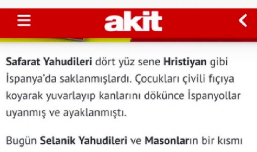 MIDDLE AGE ANTISEMITISM FROM THE TURKISH NEWSPAPER