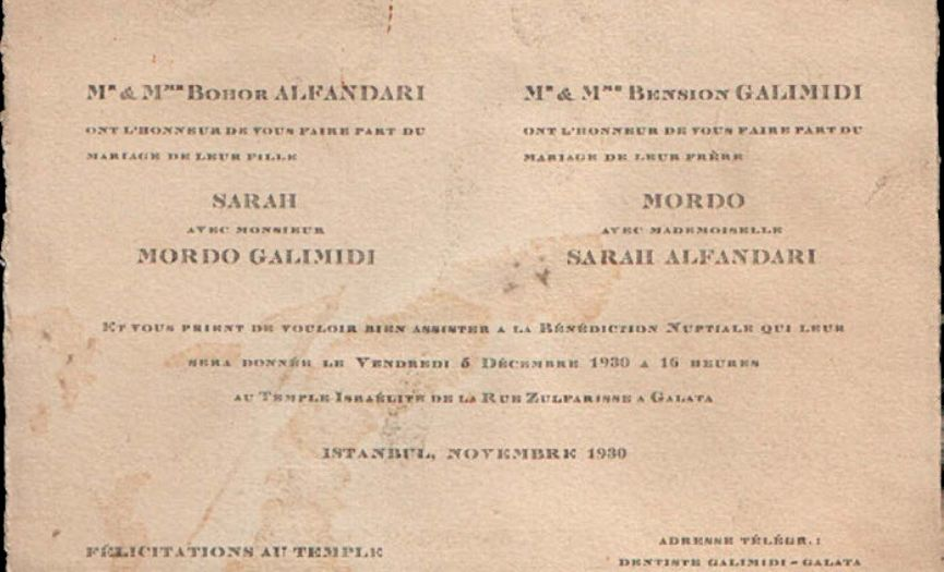 From the Museum of Turkish Jews: ´Wedding Invitation´