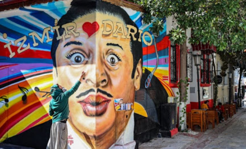 Dario Moreno Mural Painted in Izmir for His 100th Year Birth Anniversary