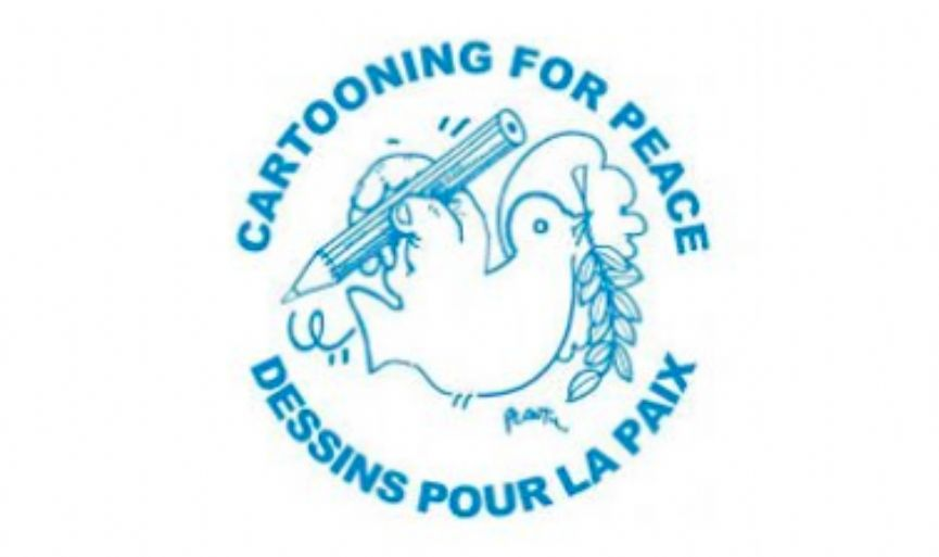 "37 Cartoonists in Strasbourg said ""Cartooning for Peace"""